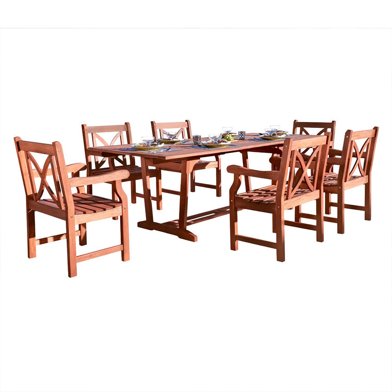 NORO Outdoor 7-piece Wood Patio Dining Set with Extension Table