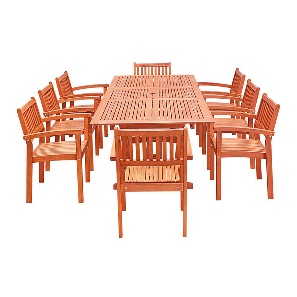 NORO Outdoor 9-piece Wood Patio Dining Set with Extension Table & Stacking Chairs