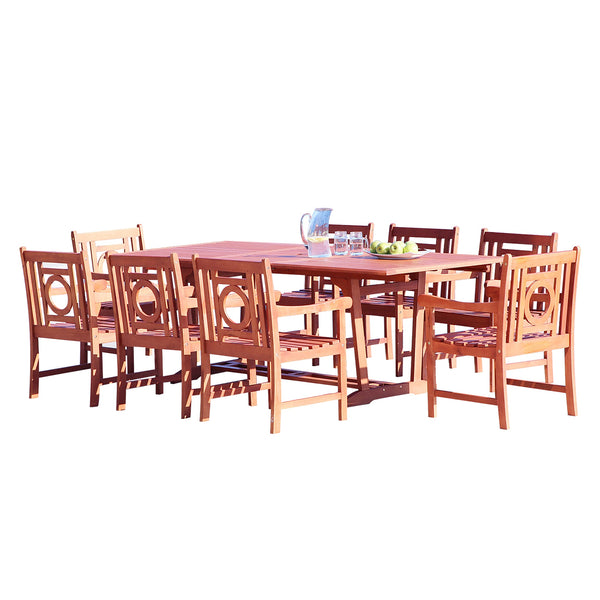NORO Outdoor 9-piece Wood Patio Dining Set with Extension Table