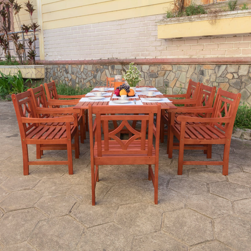 NORO Outdoor 9-piece Wood Patio Extendable Table Dining Set