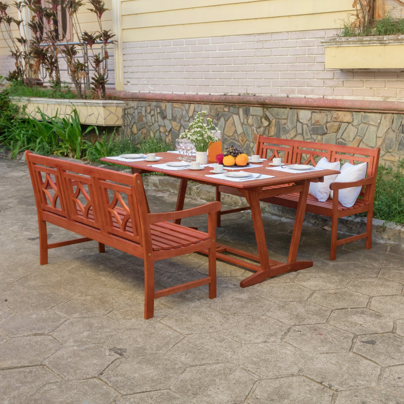NORO Outdoor 3-piece Wood Patio Extendable Table Dining Set