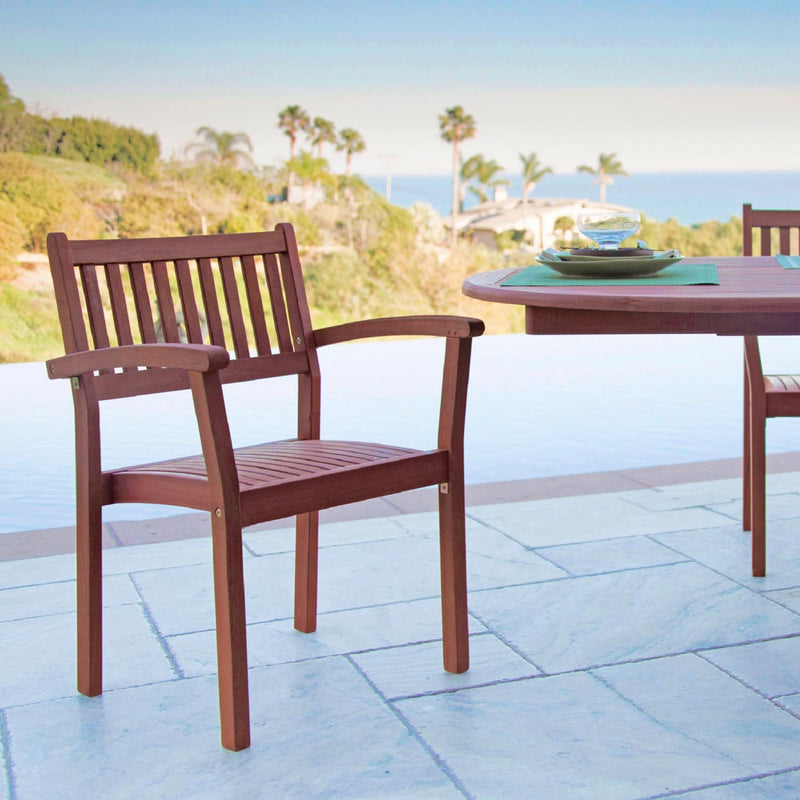 NORO Outdoor 7-piece Wood Patio Dining Set with Extension Table & Stacking Chairs