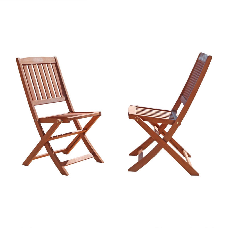 NORO Outdoor 5-piece Wood Patio Dining Set with Folding Chairs