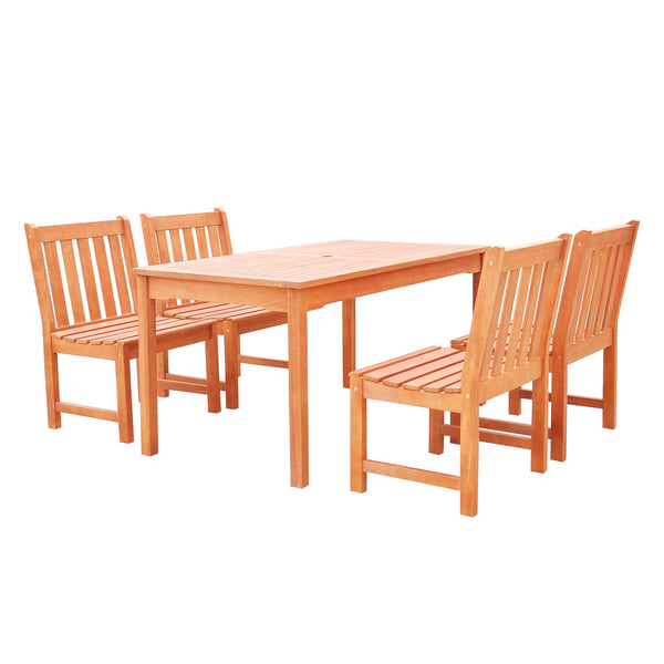 NORO Outdoor 5-piece Wood Patio Dining Set with Armless Chairs