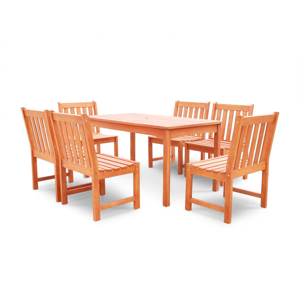 NORO Outdoor 7-piece Wood Patio Dining Set with Armless Chairs