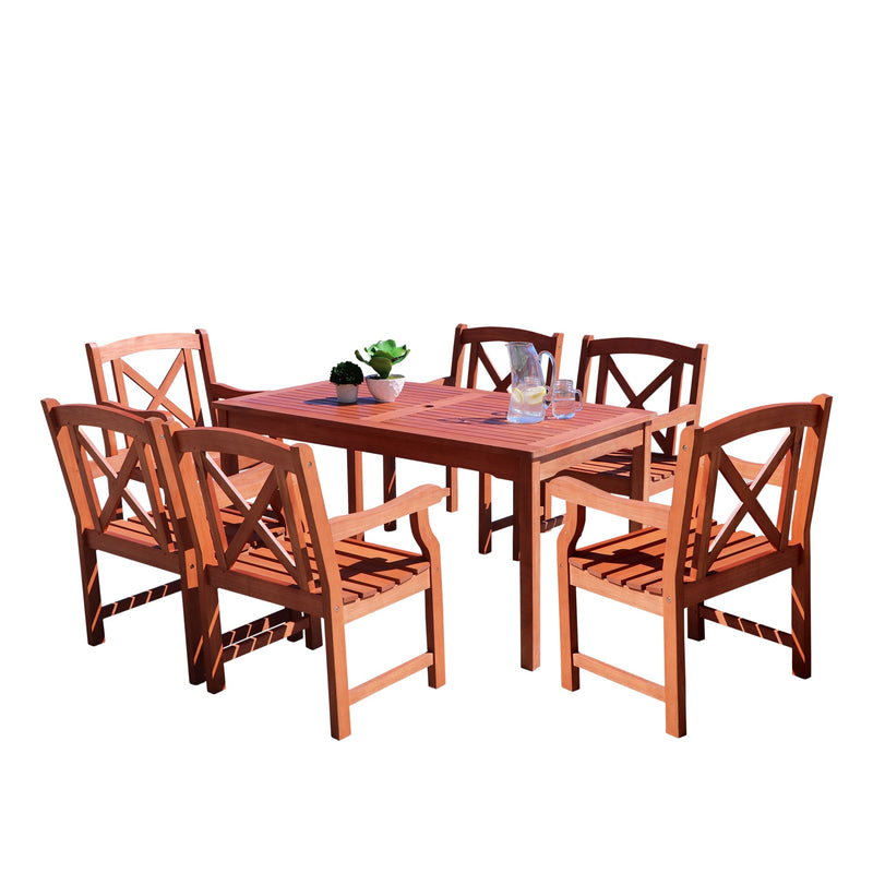 NORO Outdoor 7-piece Wood Patio Dining Set