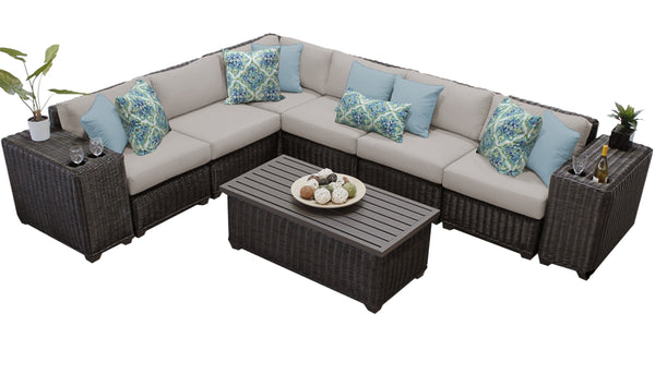 Venice 9 Piece Outdoor Wicker Patio Furniture Set 09a