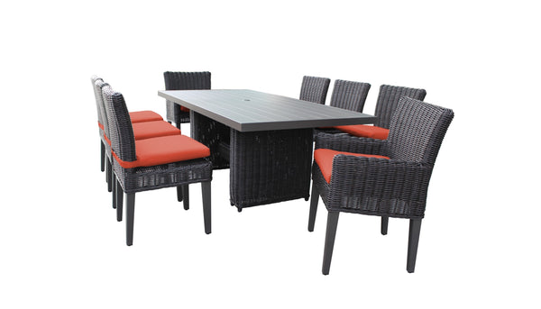 Venice Rectangular Outdoor Patio Dining Table with 6 Armless Chairs and 2 Chairs with Arms