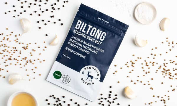 Best keto diet snacks: a bag of Brooklyn Biltong surrounded by spices