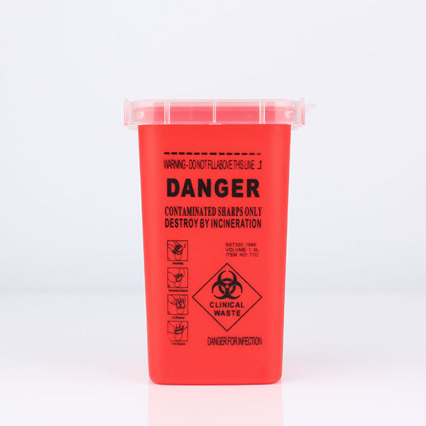 Tattoo Medical Plastic Sharps Container Biohazard Needle Disposal 1 Qt Size For Medical Tattoo Sharps Container Infectious Waste