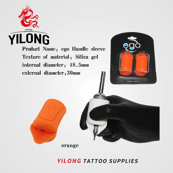 2PCS EGO Silicone Gel Tattoo Grip Cover Wrap Black Non-Slip Import Grip Cover Supply For 18mm-22mm Tattoo Grip Free Shipping