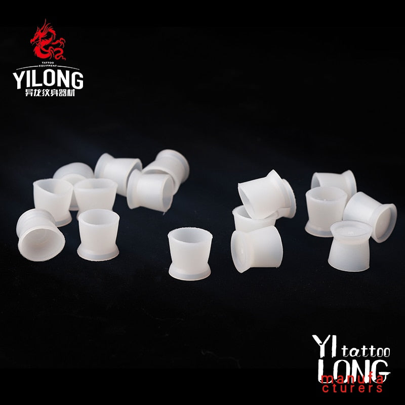 300Pcs/Set Soft Microblading Tattoo Ink Cup Cap Pigment Silicone Holder Container For Needle Tattoo Accessory Supply