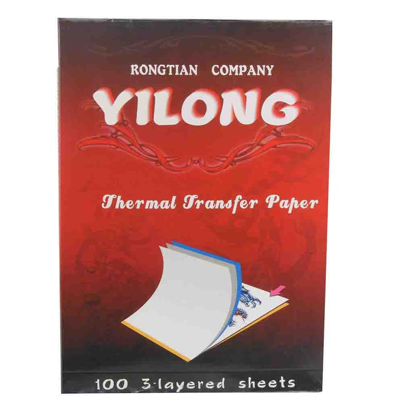 Yilong 100 pcs Tattoo Thermal Stencil Transfer Paper With And Beautiful Box For Tattoo Transfer Machine