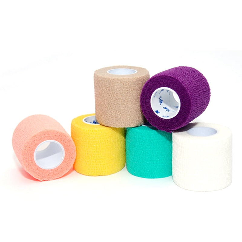5PCS Disposable Self-adhesive 5cm Elastic Bandage for Handle Grip Tube Tattoo Accessories Random Color
