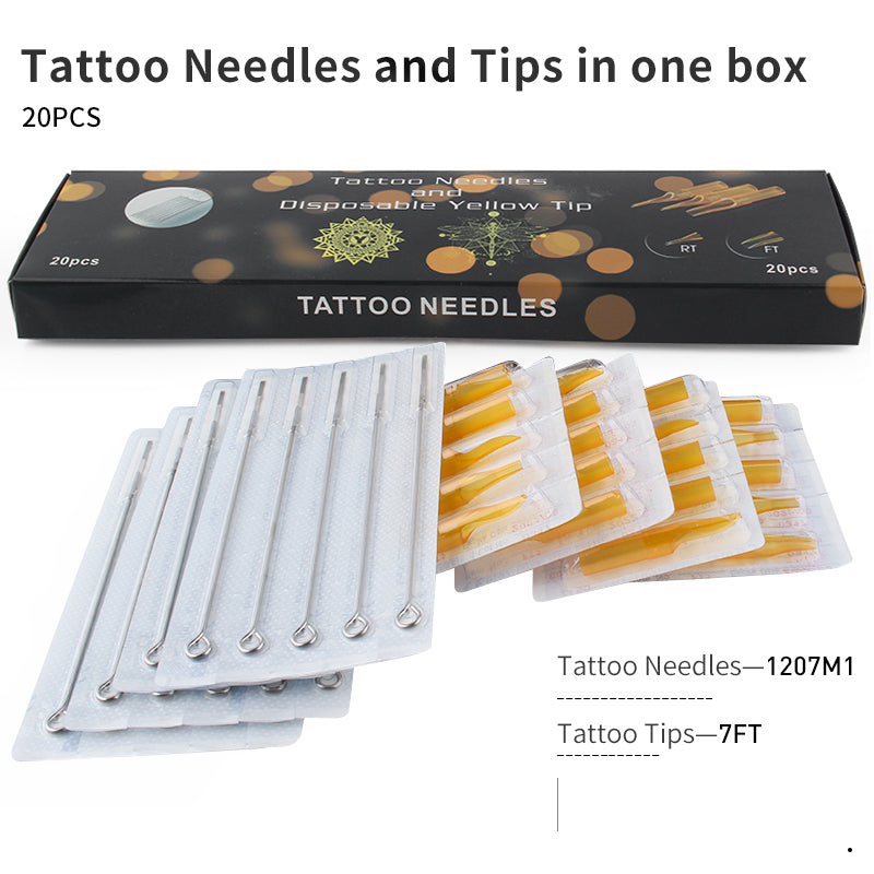 Tattoo Needles and Yellow Tips Mixed 40PCS  Professional Tattoo Needle M1/RM/RL & Disposable Plastic Tattoo Tips FT/FT/RT With Box