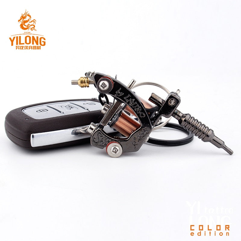 Alloy Mini Tattoo Machine Pendant with Real Coil Necklace Tattoo Supply Keychain Key Holder Pendant Ornament Gift Craft Necklace