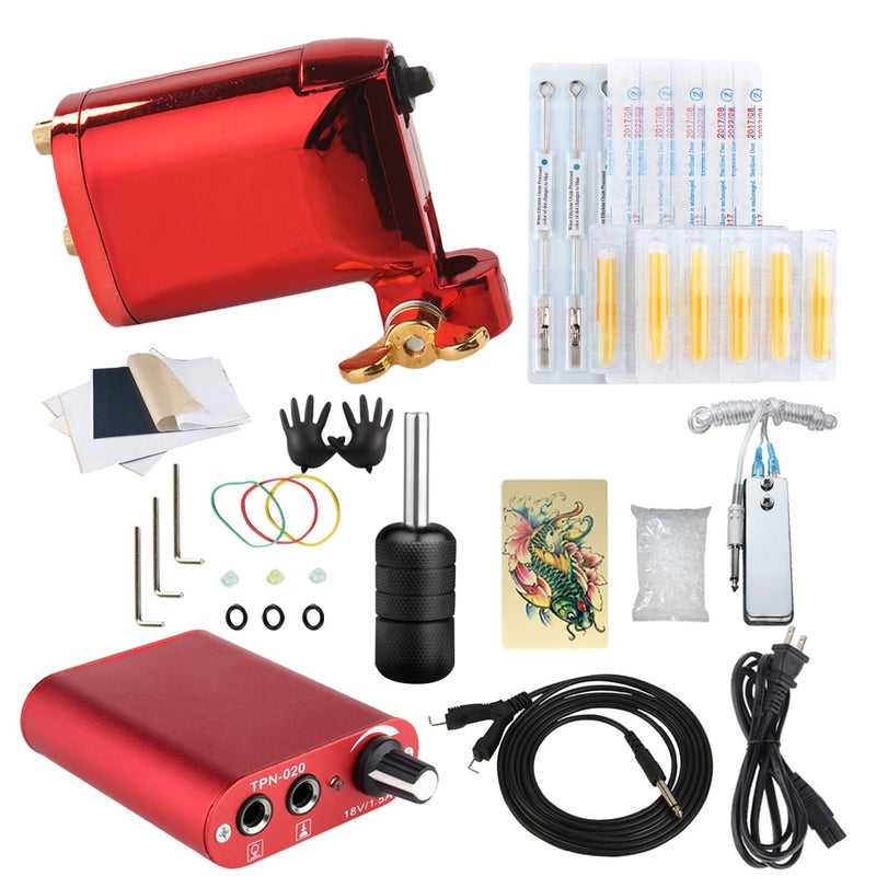 Beginner Tattoo Starter Kits 1 Rotary Tattoo Machines Guns  High  Quality Clip Power Supply Needles Top Tattoo Ink Free Shipping