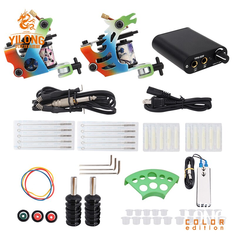 Complete Tattoo Machine Kit Set 2 Coils Guns  Pigment Sets Power Tattoo Beginner Grips Kits Permanent Makeup