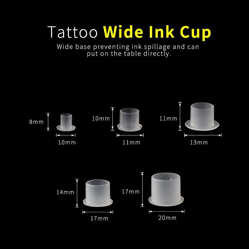 1000PCS New Arrive Top White Steady Tattoo Ink Cups Small Medium Large Size Clear Self Standing Tattoo Ink Cup Cap Supply