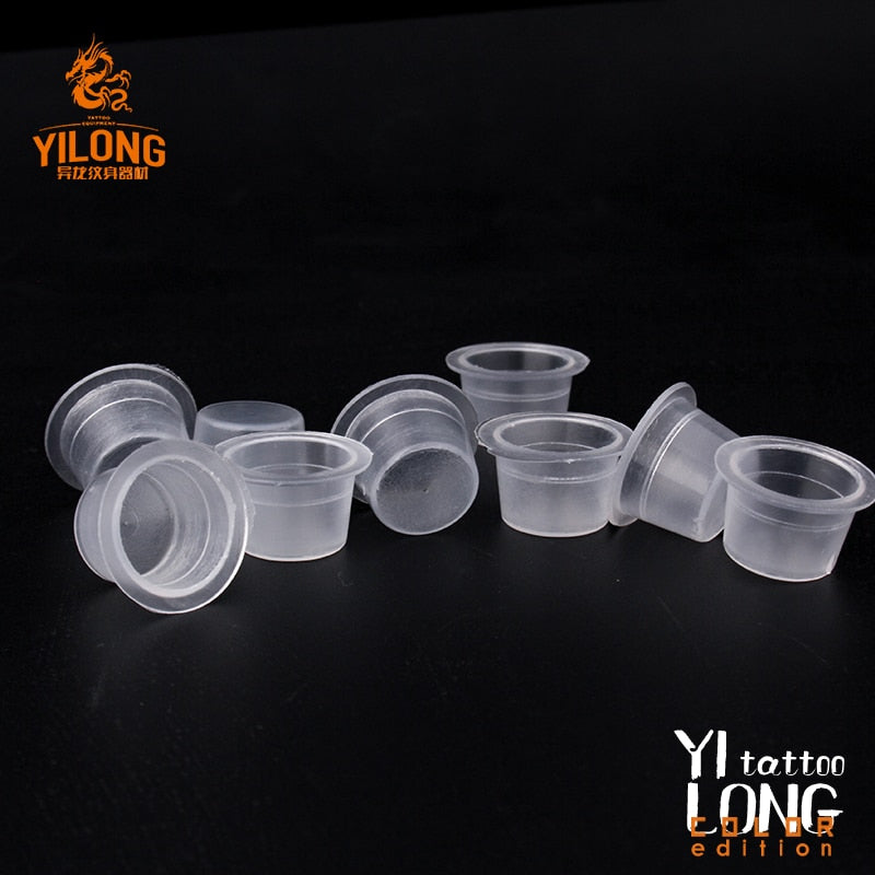 500pcs Plastic Microblading Permanent Makeup Clear Clear S/M/L Size Tattoo Ink Cups Pigment Caps Tattoo Accessories