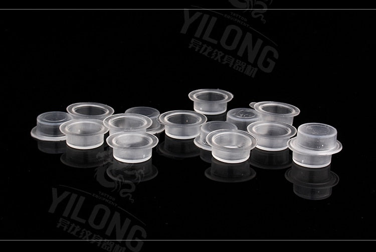 1000Pcs Plastic Microblading Tattoo Ink Cup Cap Pigment Clear Holder Container 6*12 Size For Needle Tip Grip Power Supply