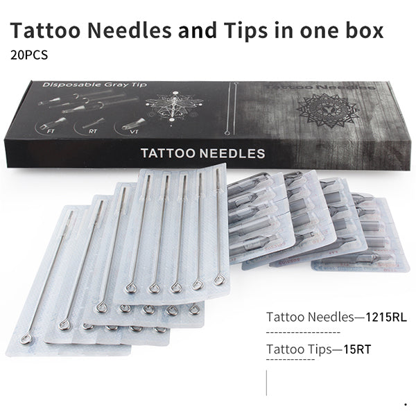 Professional Tattoo Needle RL  (RL+RT) Tattoo Needles and Gray Tips Mixed 40PCS- & Disposable Plastic Tattoo Tips RT With Box
