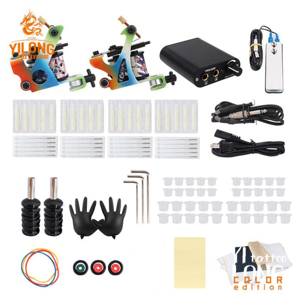 Complete Tattoo Kit 2 Machine Gun Coil Tattoo Machine Gun Foot Pedal Set Power Supply