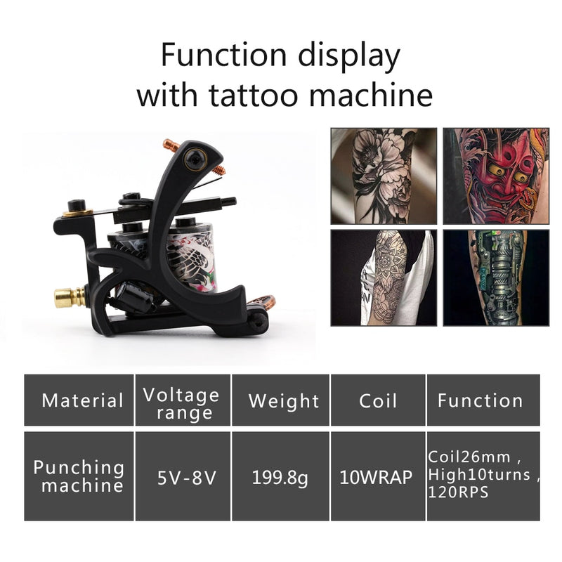 Starter Tattoo Kit 8 Wrap Coils Tattoo Gun Machines Grips Needles Tips Power Supply Beginner Tatu Tattoo Supplies
