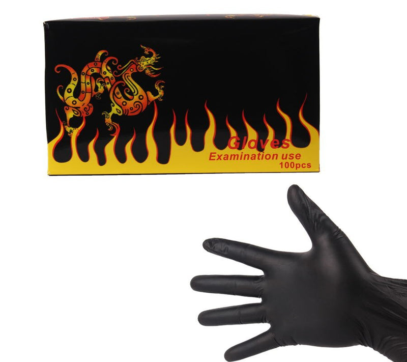 YILONG 100pcs High Quality Tattoo & Body Art Black Disposable Tattoo Latex Gloves Available Size Accessories Free Shipping