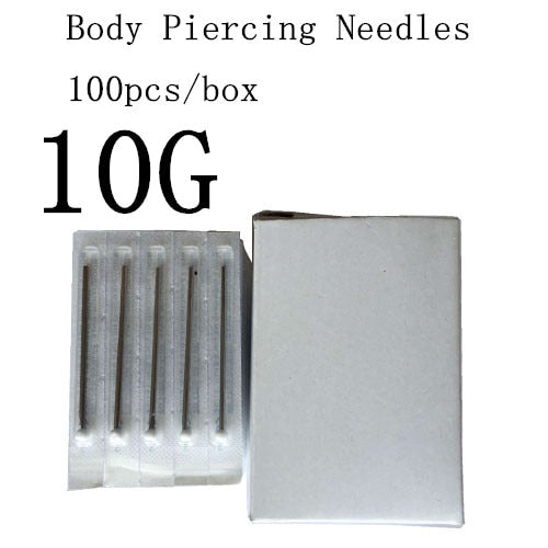 YILONG 100PC 10/12/13/14/15/16/18/20G Piercing Needles Sterile Disposable Body Piercing Needles 10G For Ear Nose Navel Nipple Free Shipping