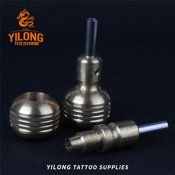 YILONG 1pcs Hot Sale 35mm Knurled Twist Self-Lock Stainless steel grip Tattoo Grips For Tattoo Machine Gun  Free Shipping