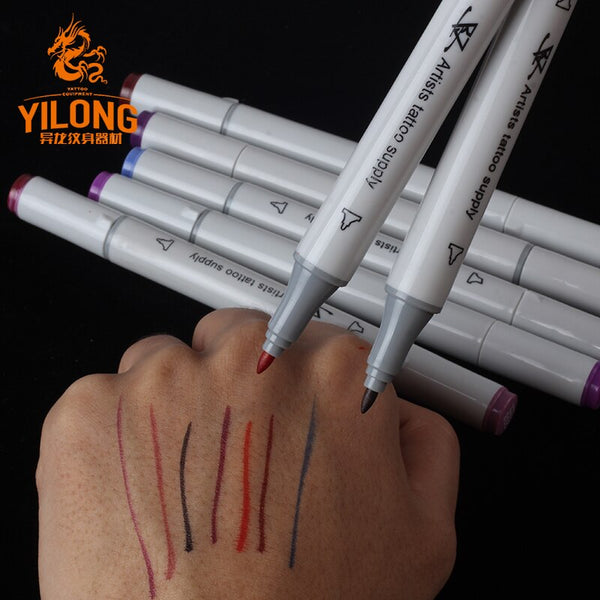 YILONG 8pcs/box Surgical Skin Measuring Marker Eyebrow Skins Tattoo Transfer PenTattoo MeasureProfessional Acupuncture Point