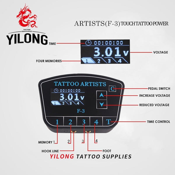 YILONG Digital Tattoo Power Supply High Quality Tattoo Power Supply LCD Display With Plug cord to line tattoos gun free shipping