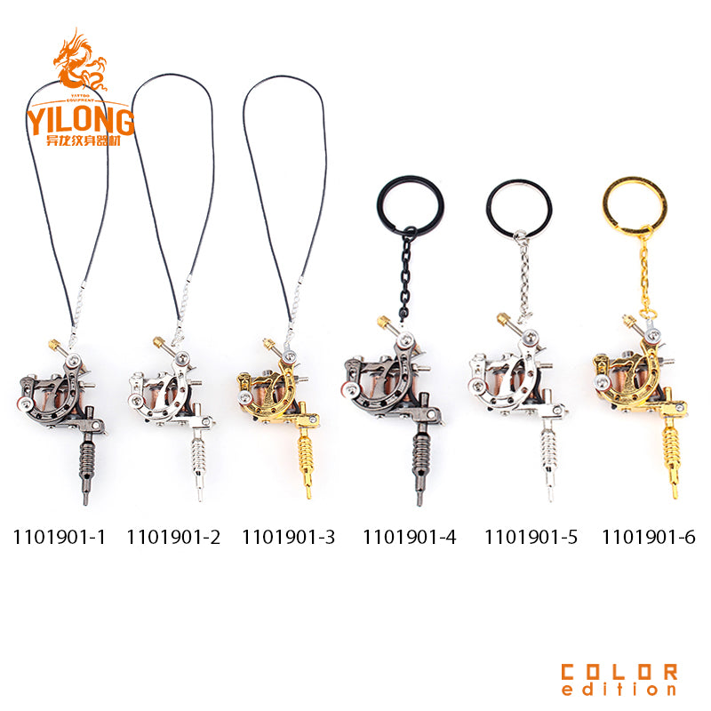YILONG Fashion Mini Gun Tattoo Machine cool Pendant Toy with Three Color Hot Selling