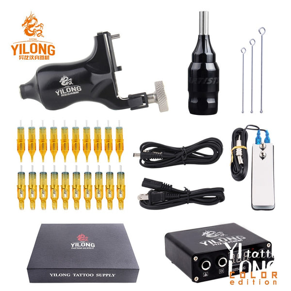 YILONG Five Color Tattoo Rotary Machine Kit Rotary Motor Box Cartridge Needles Tips Tattoo Artist Kits Body Arts Supplies