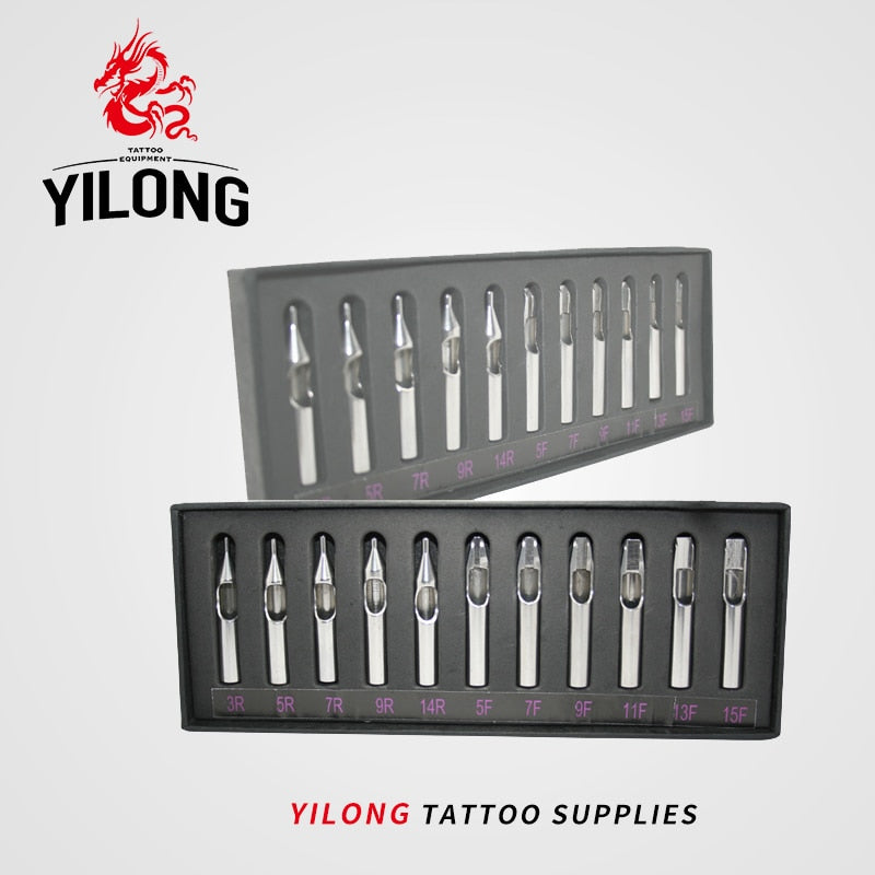 YILONG Free Shipping Tattoo & Body Art  New Disposable Sterile 11pcs/lot Stainless Steel Tattoo Machine Tips Nozzle