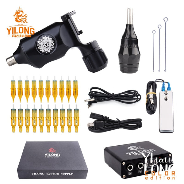 YILONG Tattoo Kit Rotary Tattoo Machine Fine Lining Guns Professional Tattoo Power Box Tattoo Grips Kit Set