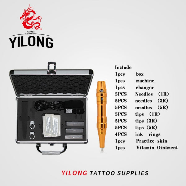 YILONG  Tattoo Machine Kit Professional Eyebrow Tattoo Pen Permanent Makeup Strong  Tattoo Kit Europe Style