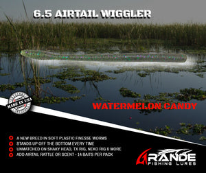 "6.5"" AIRTAIL WIGGLER - WATERMELON CANDY"