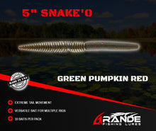 "Load image into Gallery viewer, 5"" SNAKE'O - GREEN PUMPKIN RED"