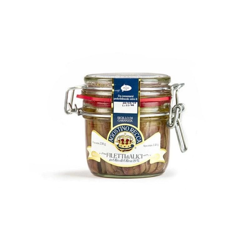 Agostino Recca Sicilian Anchovies Fillets in jar - 230g - gourmet-de-paris-london