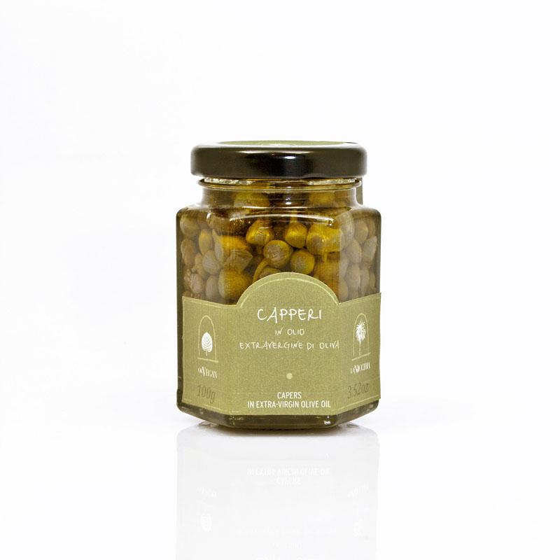 La Nicchia Sicilian capers in olive oil - 100g - gourmet-de-paris-london