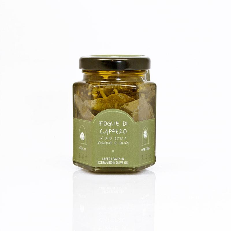 Sicilian capers leaves in olive oil - 100g - gourmet-de-paris-london