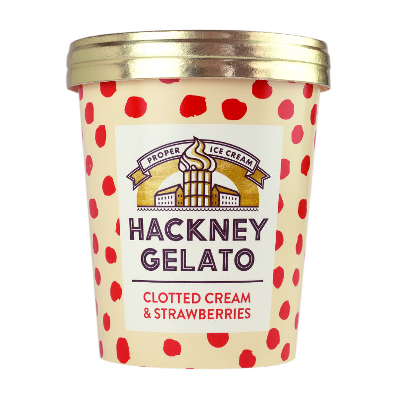 Hackney Gelato Clotted cream & strawbery gelato - 500ml - gourmet-de-paris-london