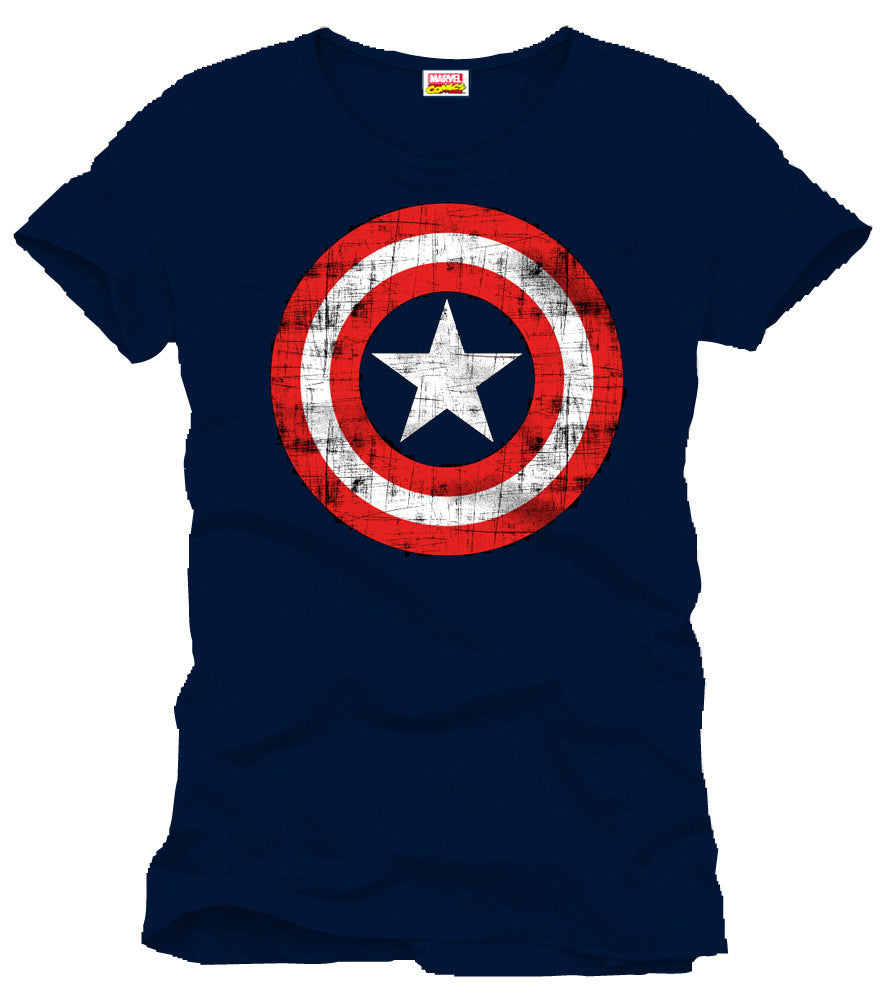 Captain America T-Shirt Shield Logo Navy Størrelse Large/Medium