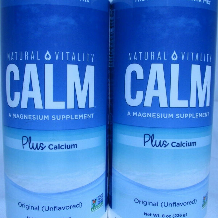 2X Natural Calm Plus Calcium 8 oz EACH LOT OF TWO (Unflavored) FRESH FREE SHIP