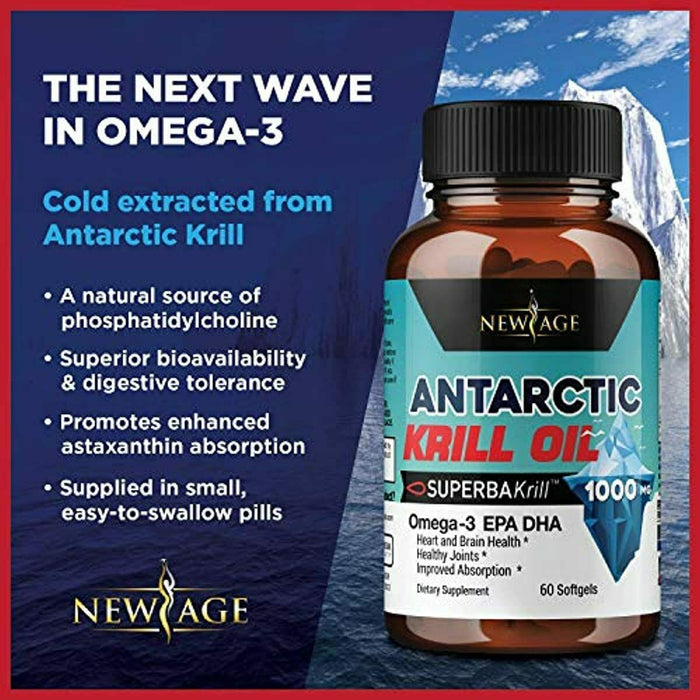 (2-Pack) Pure Antarctic Krill Oil 1000mg with Astaxanthin 120 Caps Omega 3 6 9 -