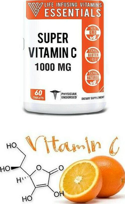 3 BOTTLES Vitamin C 1000 mg 60 Count Tablets Gluten Free Dietary Supplement SALE