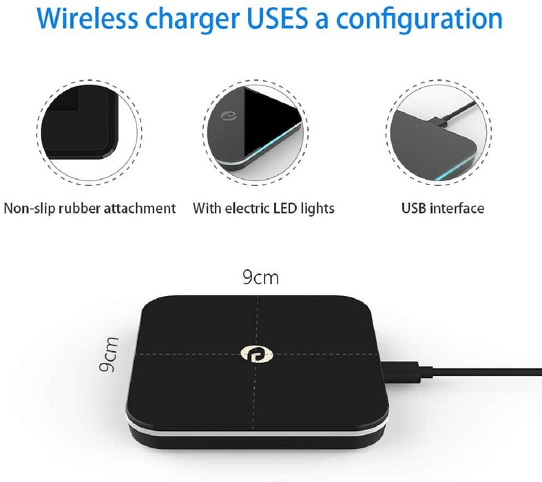 Wireless Charger, Qi-Certified 10W Fast Wireless Charging Pad Ultra Slim