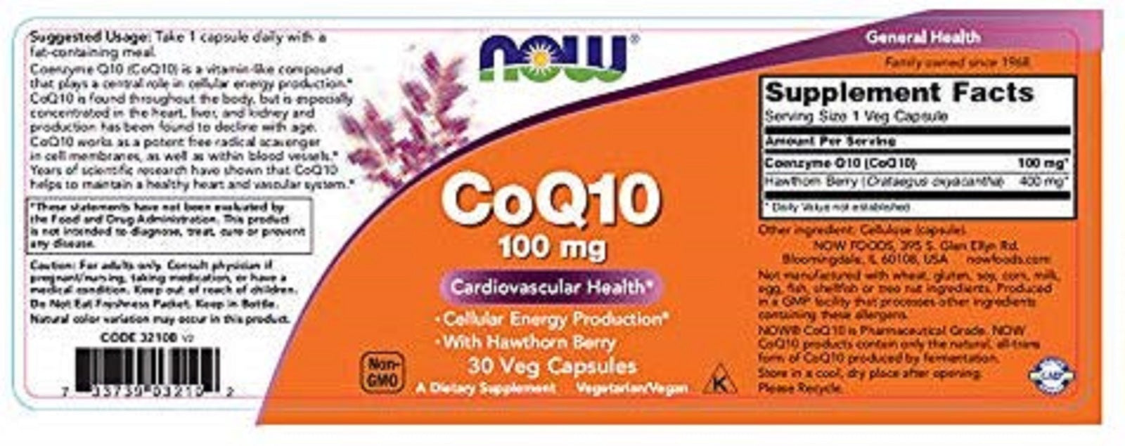 Now Supplements, CoQ10 100 mg with Hawthorn Berry, Pharmaceutical Grade, All